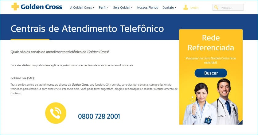 telefone golden cross