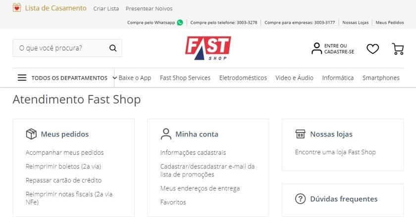 telefone fast shop